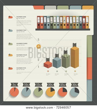 Infographics folder collection. Web page or print template. Vector background illustration.