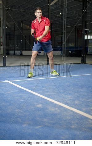 Paddle Tennis Player Serve
