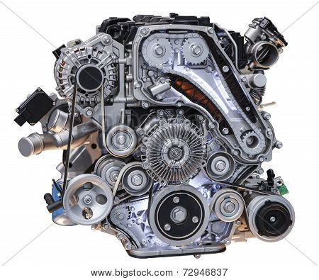 Modern Turbo Diesel Truck Engine