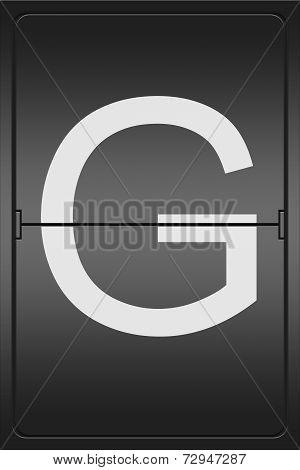 Letter G On A Mechanical Leter Indicator