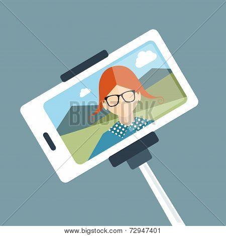 Selfie set photo illustration. Young girl making self portrait. Vector.