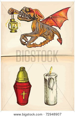 Beyonder And Candles - An Hand Drawn Vector