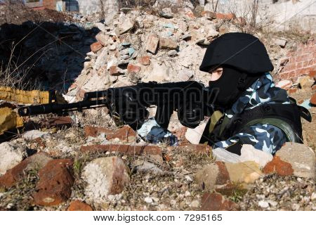 Soldier Shooting From Covered Position
