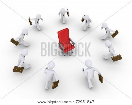 Businessmen Running To Get The Promotion