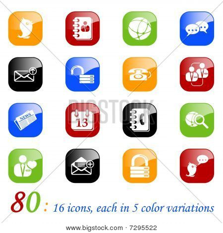 Social media & blog icons with reflection, color series