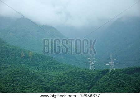 High Tension Power Lines on the Mountain Top