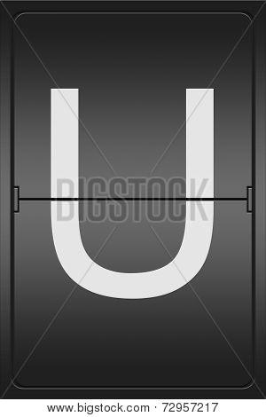 Letter U On A Mechanical Leter Indicator