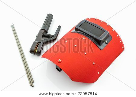 Red Protective Screen And Rod-holder With Welding Electrodes Wire, For Electric Arc Welding.