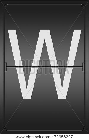 Letter W On A Mechanical Leter Indicator