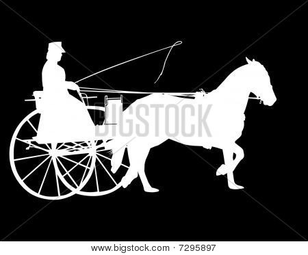 Silhouette Of Horse And Buggy