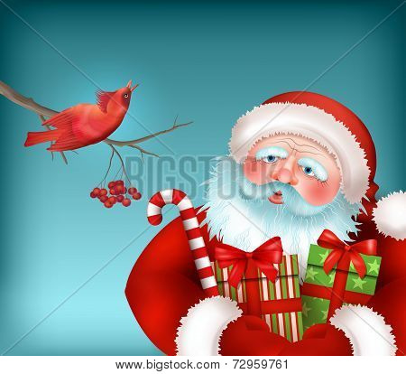 Santa is Listening to the Bird Singing