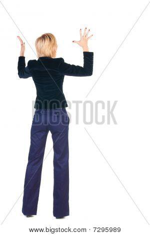 Shocked Blonde Businesswoman. Rear View .