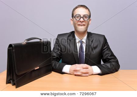 Nerdy businessman