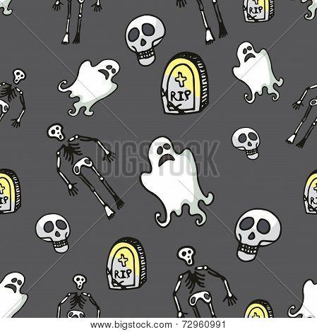 Halloween seamless pattern.Skeleton,Ghost,tombstone,skull