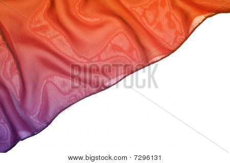 Piece Of Red Silk Isolated On White Background