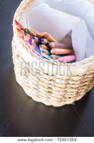 Group Of Different Colored Pencils In Craft Box