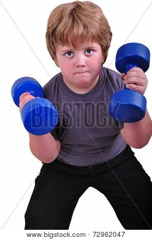 Isolated Portrait Of Kid Exercising With Dumbbells