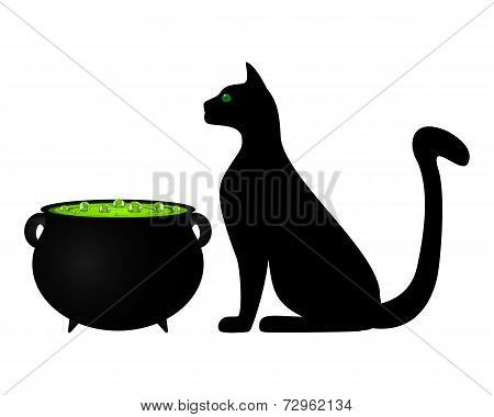 Cat and cauldron potion for Halloween