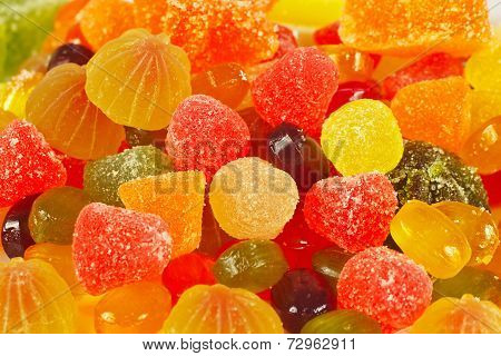 Background of colorful candies and jujube closeup