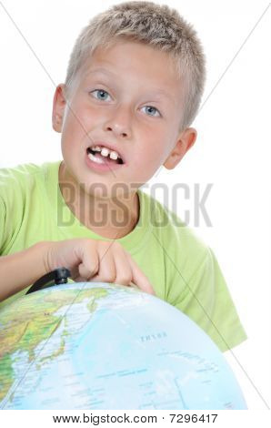 Boys Finger Pointing On World Globe