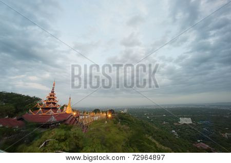 Panoramic View Of Temple Roof And Stupa ,Sutaungpyai Pagoda,Mandalay Hill.