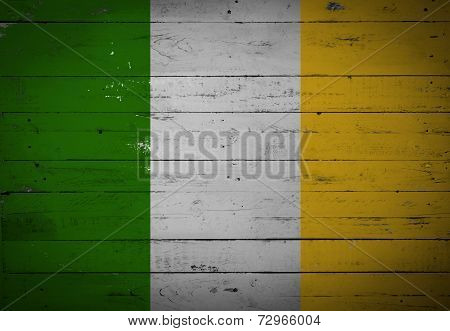 Irish Flag Painted On A Wooden Board