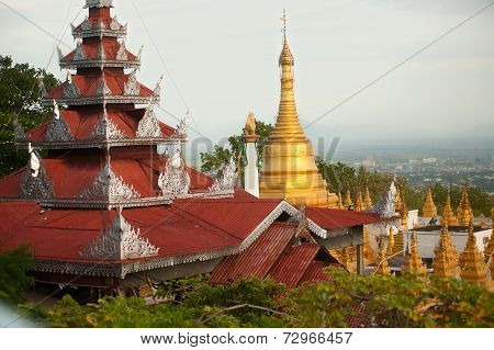 Temple Roof And Stupa ,Sutaungpyai Pagoda,mandalay Hill.