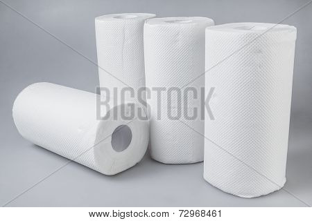 Stack Of White Tissue Paper Rolls.