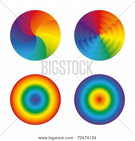 Rainbow Circles Set Isolated Objects