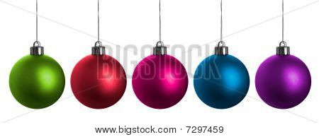 Multi-colored Christmas Balls Isolated On White.