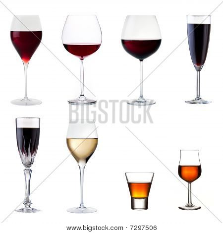 Set Of Drinks Isolated On White
