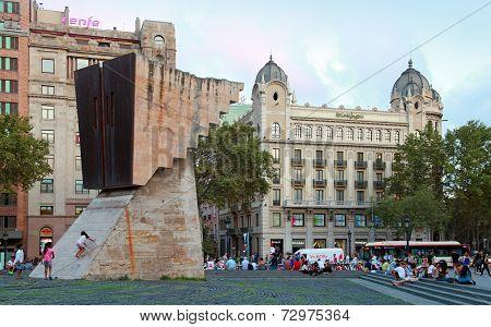 Placa De Catalunya With Francesc Macia Monument, Barcelona