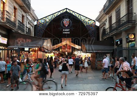 Entrance To La Boqueria, Marketplace In Old Part Of Barcelona
