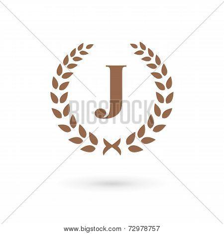 Letter J Laurel Wreath Logo Icon