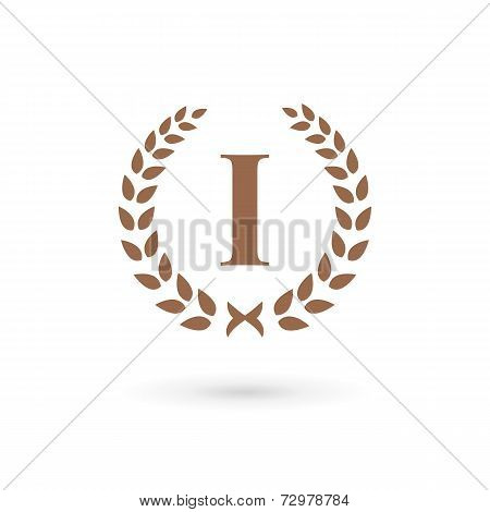 Letter I Number One 1 Laurel Wreath Logo Icon