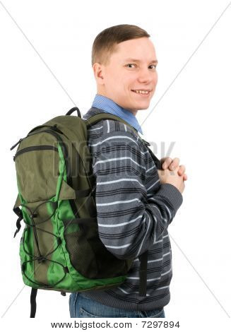 Happy College Student With Backpack
