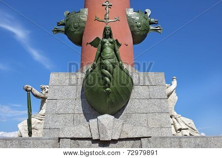 Decoration Of A Rostral Column In Saint Petersburg, Russia