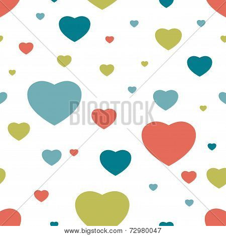 Kid Heart seamless pattern. Simply flat background. Vector.