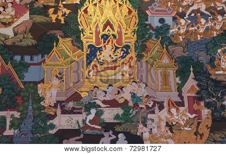Thai Style Mural Painting:buddha's Mother's Dream
