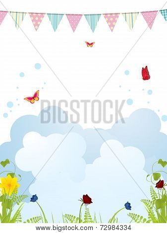Spring Bunting Background