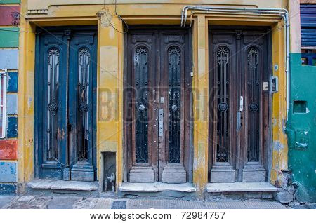 Three Old Doors Next To Each Other, La Boca, Argentina
