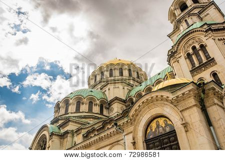 Looking up at Cathedral Saint Alexander Nevsky