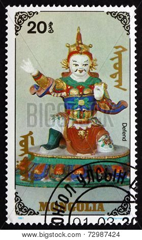 Postage Stamp Mongolia 1991 Defend, Buddhist Effigy