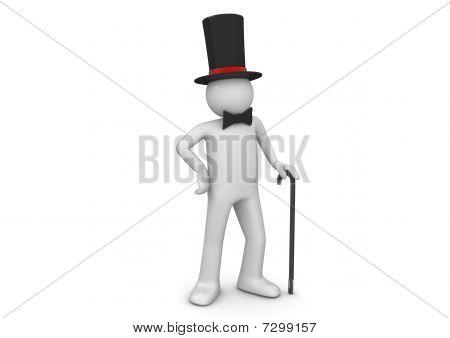 Gentleman / Nobleman In Top Hat With Walking Stick