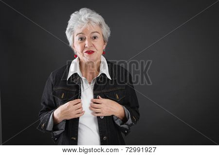 Portrait of senior woman with doubts.