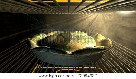Australian Dollar Money Pie Baking In The Oven