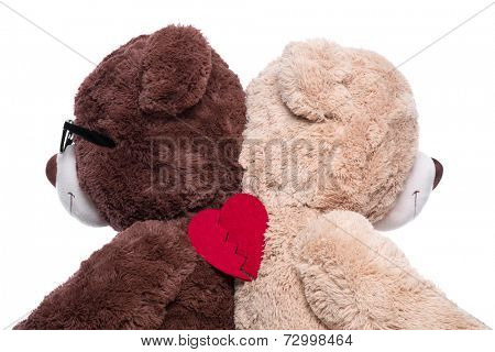 Teddy bears back to back for support : broken heart isolated on white background - problems under mens and womens