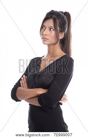 Isolated young businesswoman in a black outfit - skeptical and pessimistic