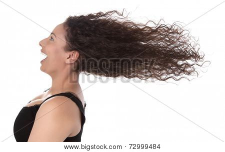 Windy: profile of laughing woman with blowing hair in wind isolated on white background - summertime - happy day