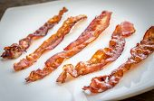 pic of bacon strips  - Fried Bacon Strips On The Square Plate - JPG